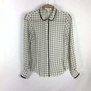 Black and White Semi Sheer Button Up